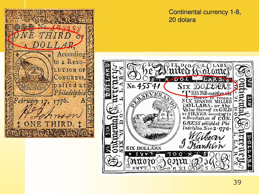 Continental currency 1-8, 20 dolara